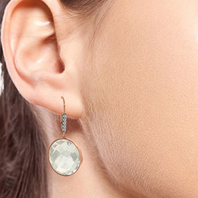 White Topaz and Diamond Drop Earrings 36.0ctw in 14K Rose Gold