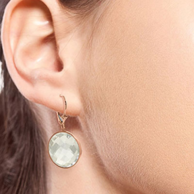 White Topaz Drop Earrings 36.0ctw in 9ct Rose Gold