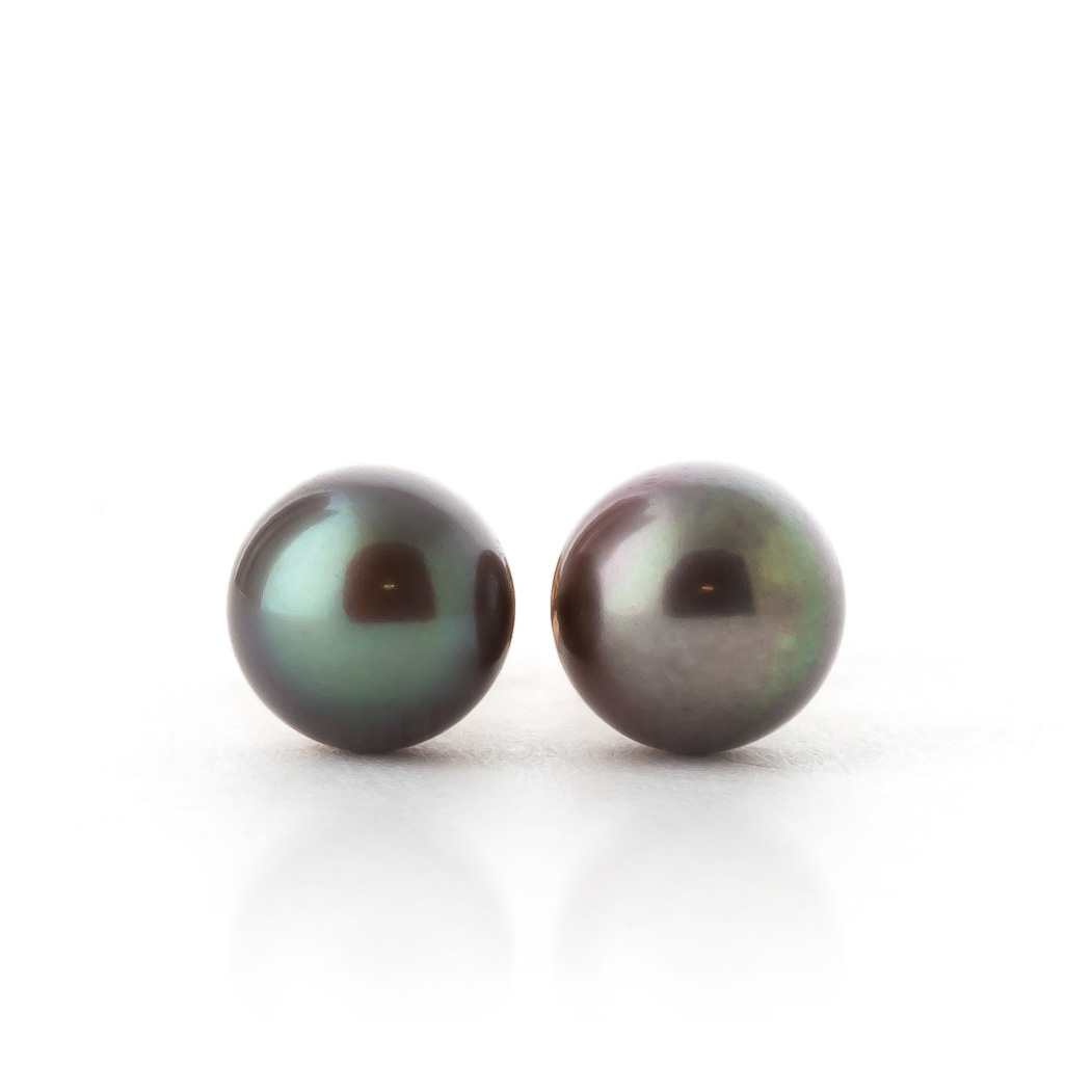 Black Pearl Stud Earrings 4.0ctw in 14K Rose Gold