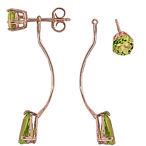 Peridot Lure Drop Earrings 4.2ctw in 14K Rose Gold