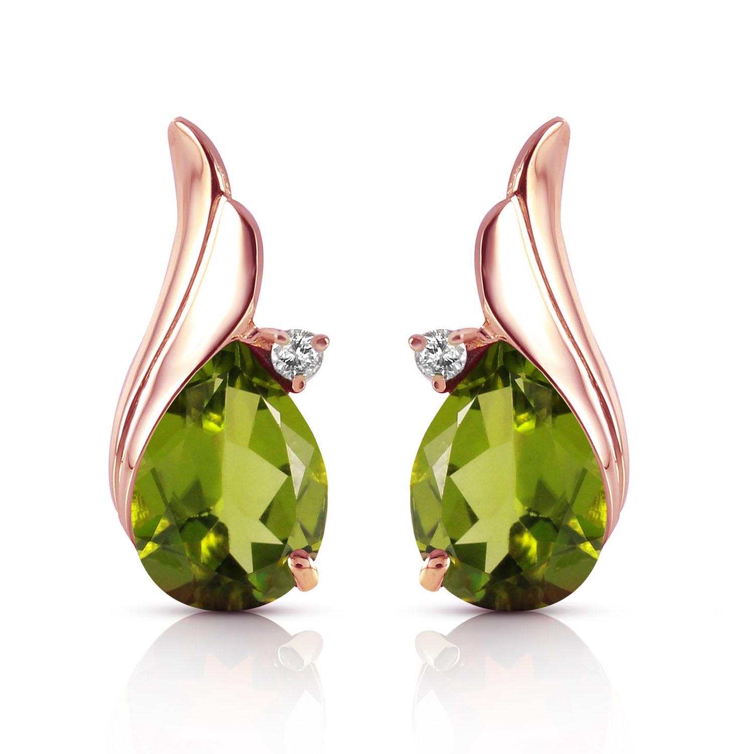 Peridot and Diamond Stud Earrings 4.2ctw in 9ct Rose Gold