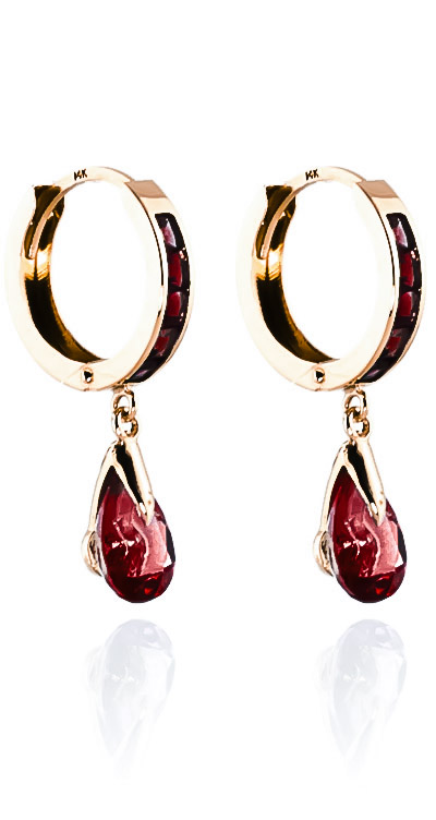 Garnet Droplet Huggie Earrings 4.3ctw in 9ct Rose Gold