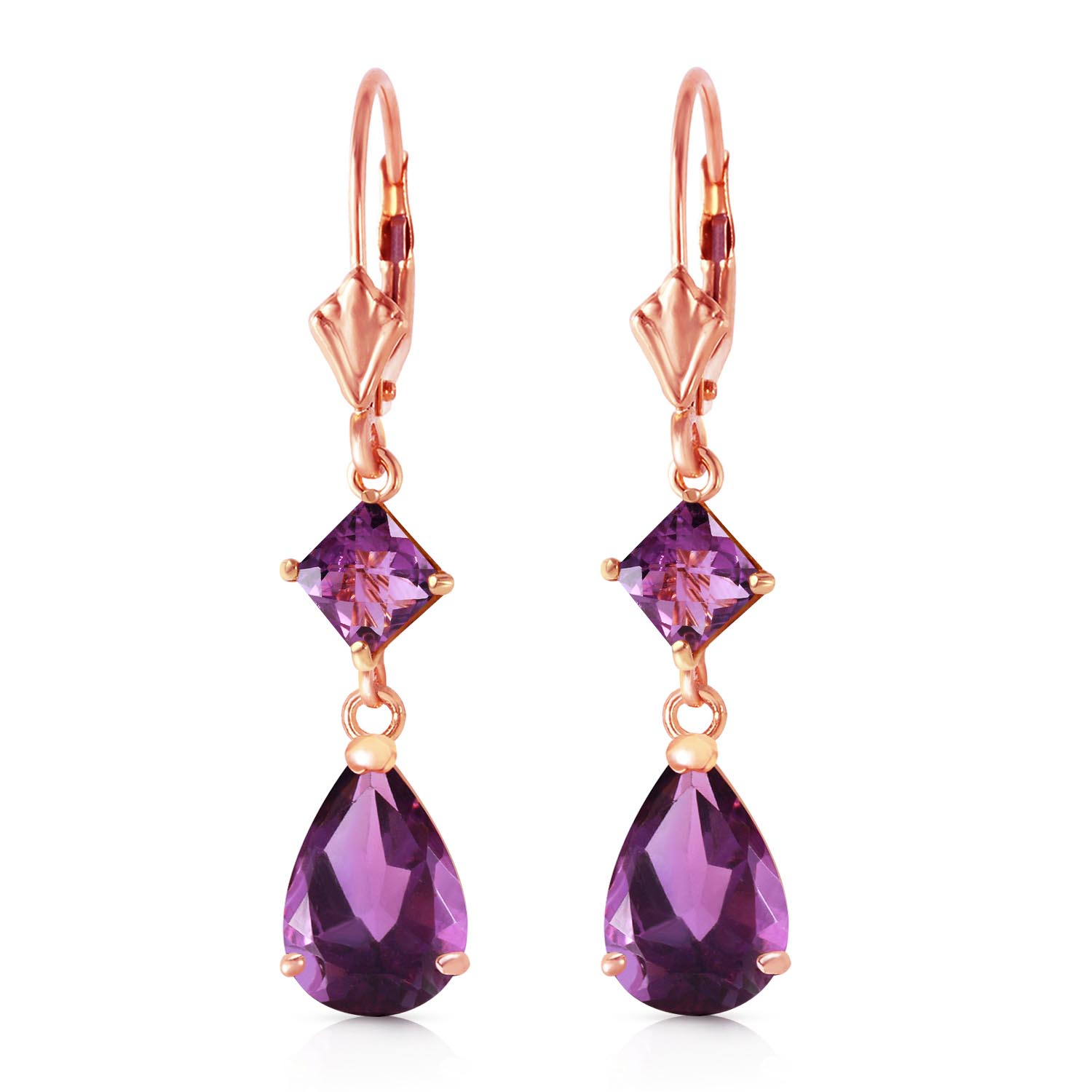Amethyst Droplet Earrings 4.5ctw in 9ct Rose Gold
