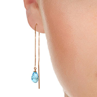 Blue Topaz Scintilla Briolette Earrings 4.5ctw in 14K Rose Gold
