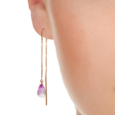 Pink Topaz Scintilla Briolette Earrings 4.5ctw in 14K Rose Gold
