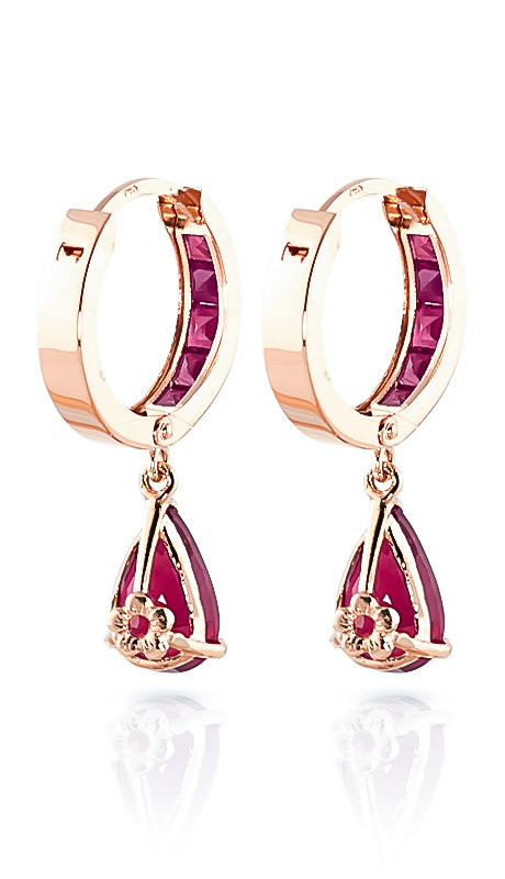 Ruby Huggie Drop Earrings 4.8ctw in 14K Rose Gold