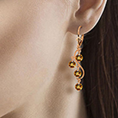 Citrine Dream Catcher Drop Earrings 4.95ctw in 14K Rose Gold