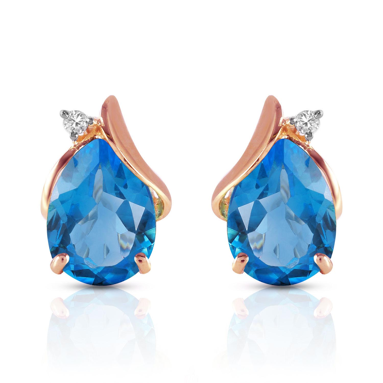 Blue Topaz and Diamond Stud Earrings 5.0ctw in 14K Rose Gold