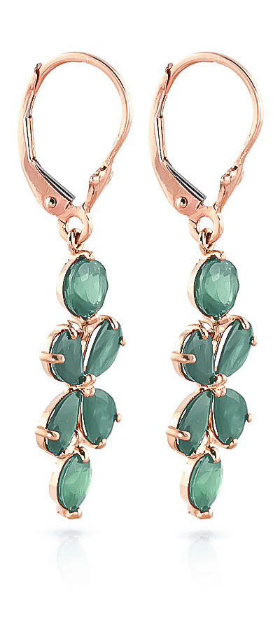 Emerald Blossom Drop Earrings 5.32ctw in 14K Rose Gold