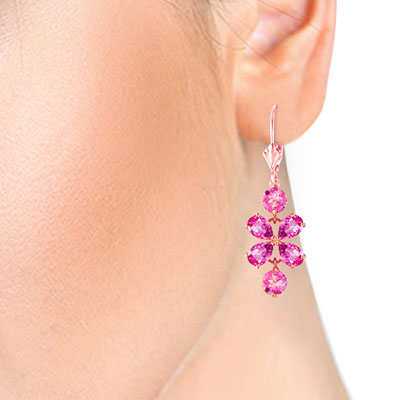 Pink Topaz Blossom Drop Earrings 5.32ctw in 9ct Rose Gold