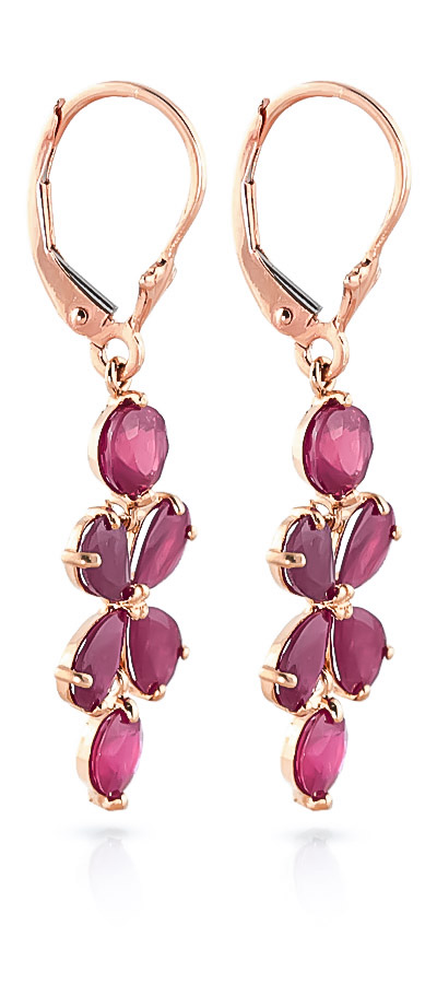 Ruby Blossom Drop Earrings 5.32ctw in 14K Rose Gold