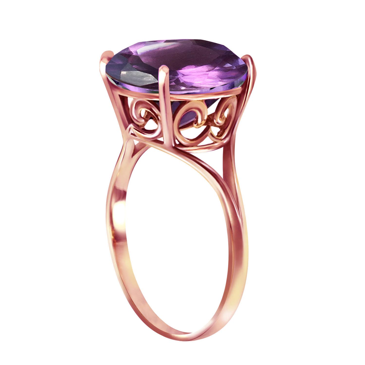 Round Brilliant Cut Amethyst Ring 5.5ct in 14K Rose Gold