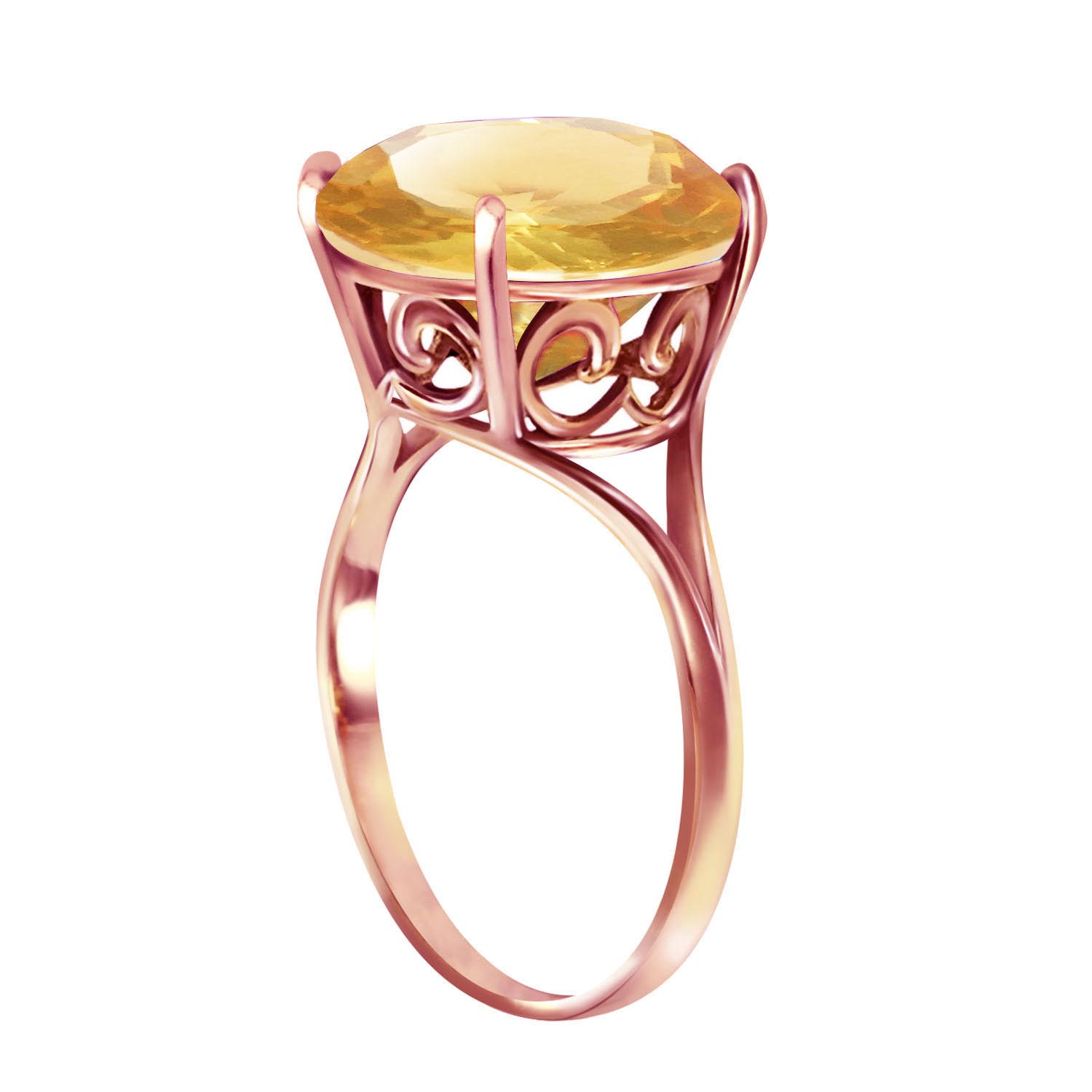 Round Brilliant Cut Citrine Ring 5.5ct in 9ct Rose Gold