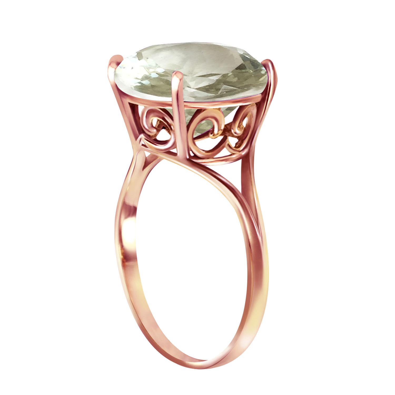 Round Brilliant Cut Green Amethyst Ring 5.5ct in 14K Rose Gold