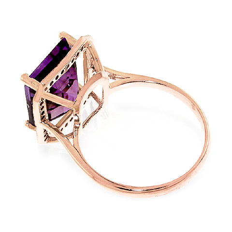 Amethyst and Diamond Halo Ring 5.6ct in 14K Rose Gold