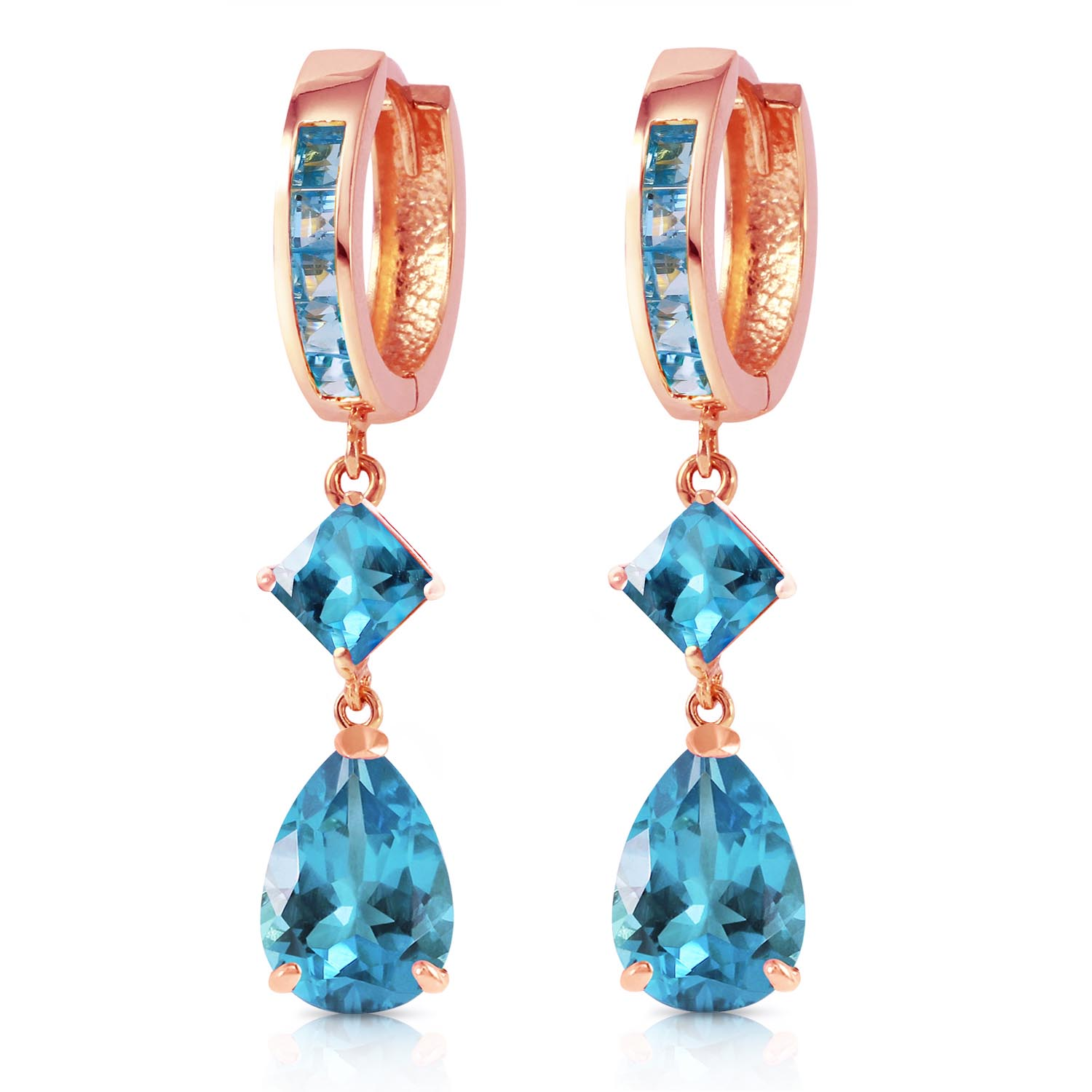 Blue Topaz Droplet Huggie Earrings 5.62ctw in 14K Rose Gold