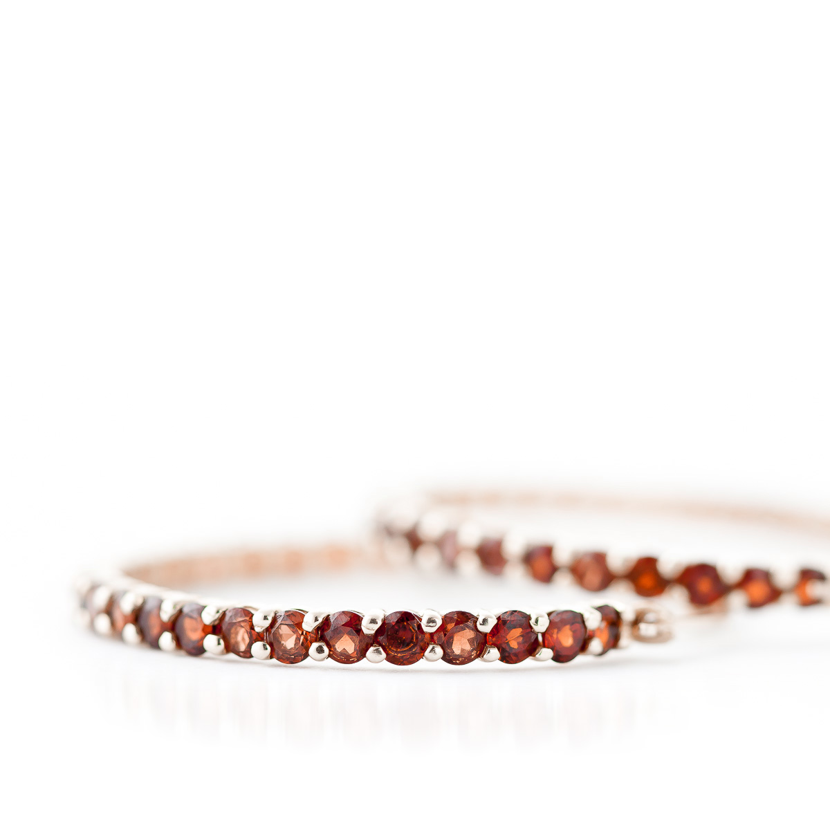 Garnet Metro Hoop Earrings 6.0ctw in 9ct Rose Gold