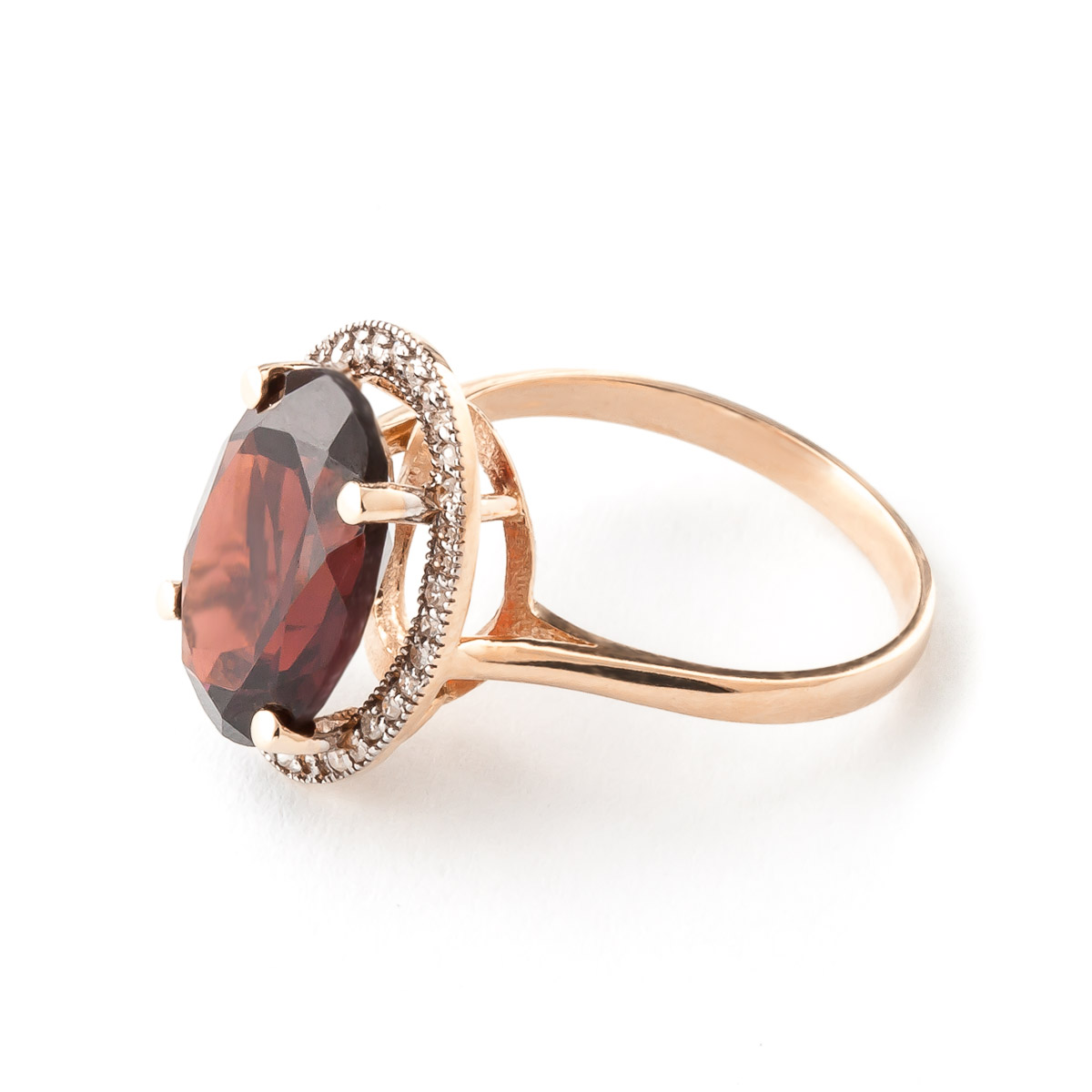 Garnet and Diamond Halo Ring 6.0ct in 9ct Rose Gold