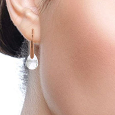 White Topaz Briolette Drop Earrings 6.0ctw in 14K Rose Gold