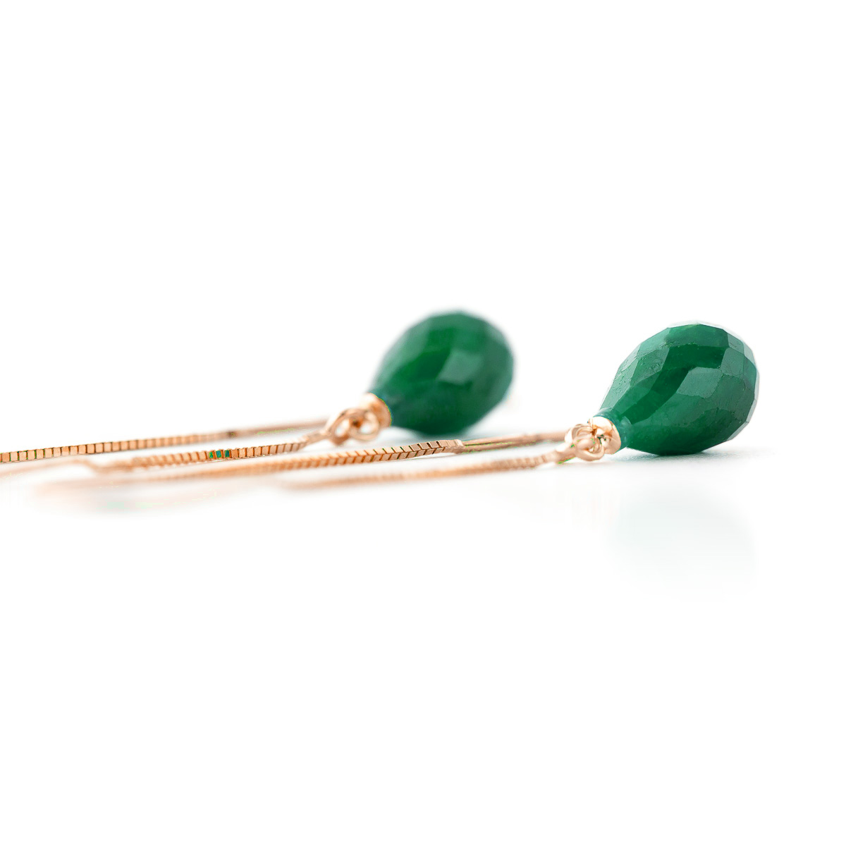 Emerald Scintilla Briolette Earrings 6.6ctw in 9ct Rose Gold