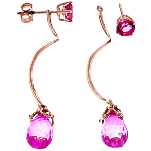 Pink Topaz Lure Drop Earrings 6.8ctw in 14K Rose Gold