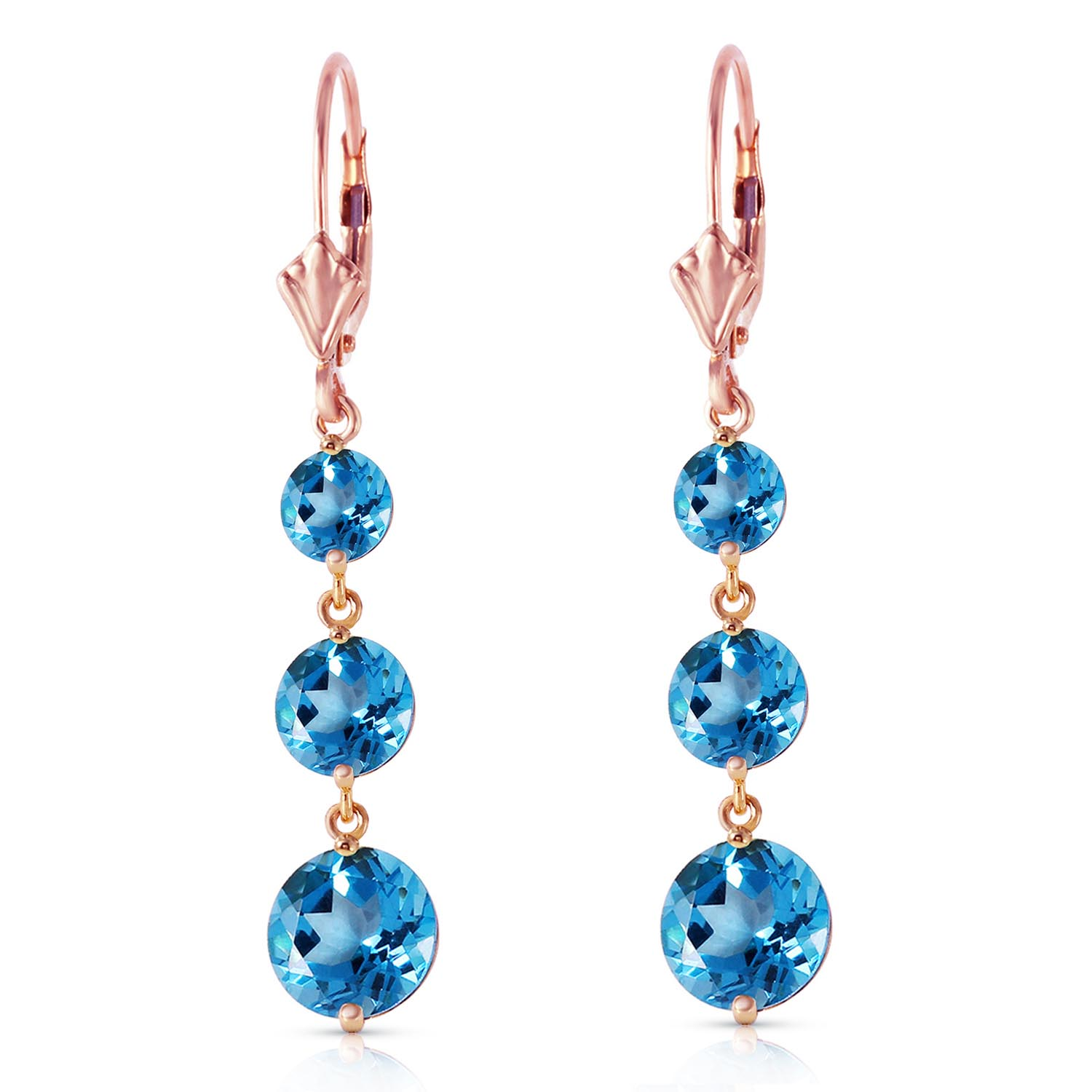 Blue Topaz Trinity Drop Earrings 7.2ctw in 14K Rose Gold