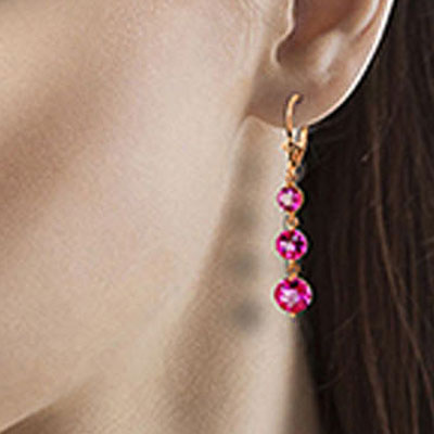 Pink Topaz Trinity Drop Earrings 7.2ctw in 9ct Rose Gold