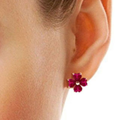 Ruby Flower Heart Stud Earrings 7.2ctw in 9ct Rose Gold
