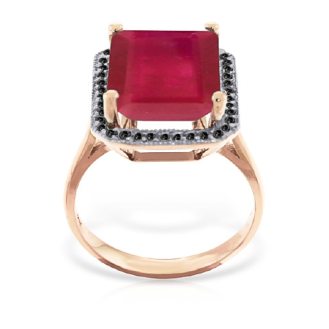 Ruby and Diamond Halo Ring 7.25ct in 9ct Rose Gold