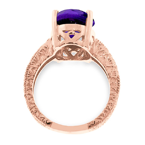 Oval Cut Amethyst Ring 7.5ctw in 14K Rose Gold