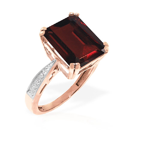 Garnet and Diamond Ring 7.5ct in 14K Rose Gold