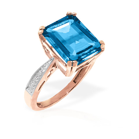 Blue Topaz and Diamond Ring 7.6ct in 14K Rose Gold