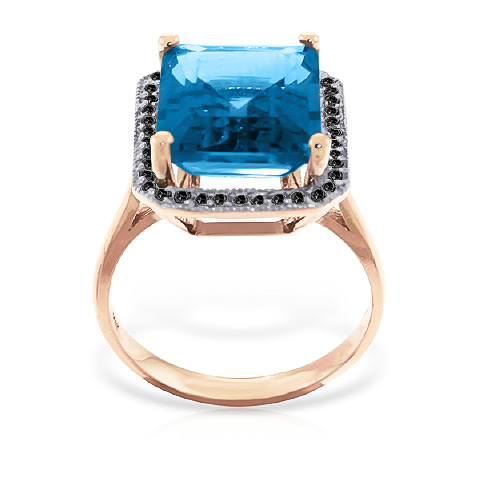 Blue Topaz and Diamond Halo Ring 7.6ct in 9ct Rose Gold
