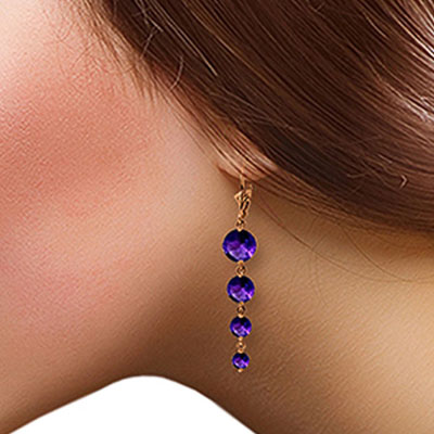 Amethyst Quadruplo Drop Earrings 7.8ctw in 14K Rose Gold