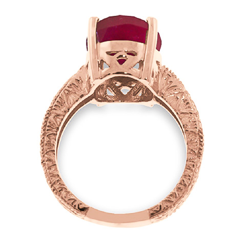 Oval Cut Ruby Ring 8.0ctw in 14K Rose Gold