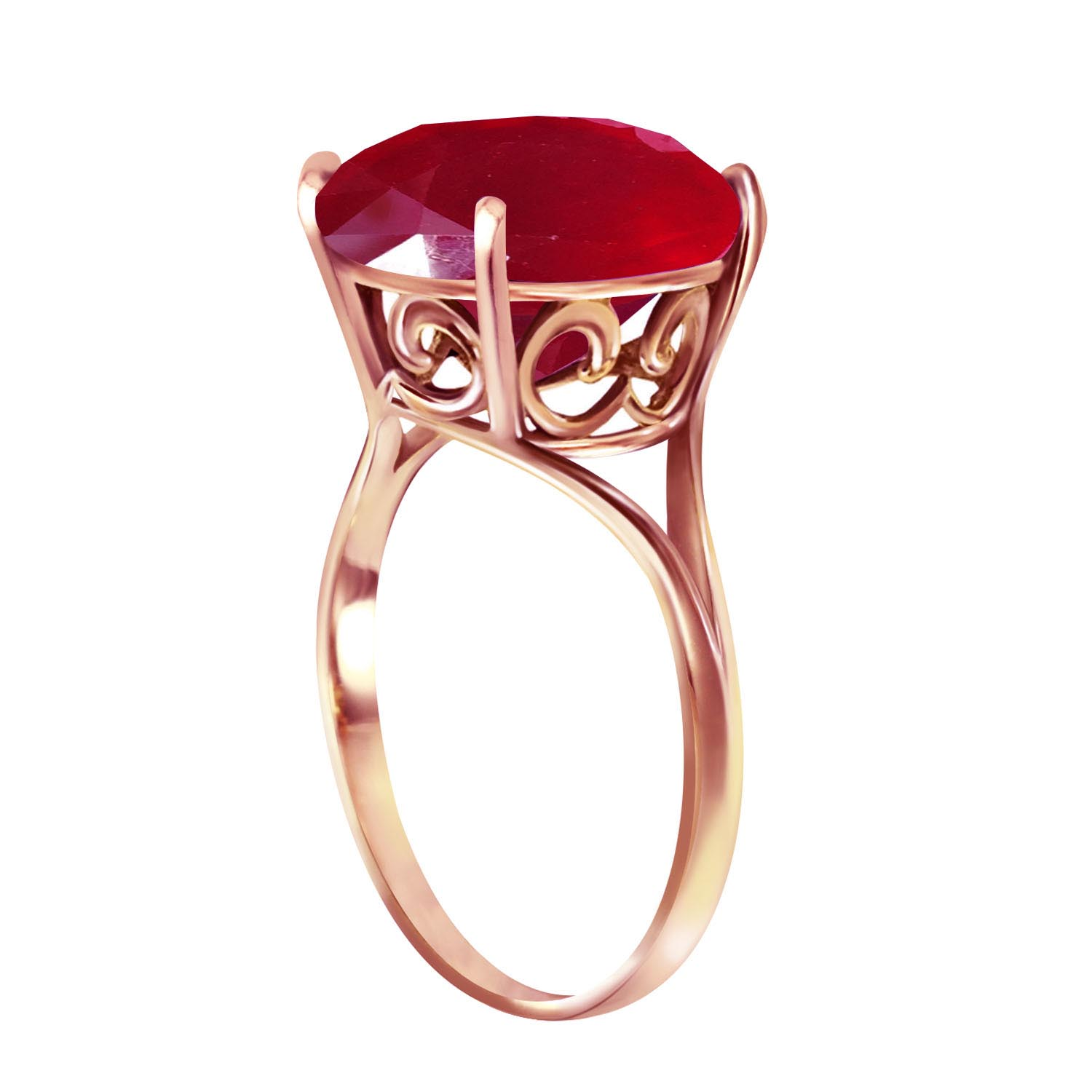 Round Brilliant Cut Ruby Ring 8.5ct in 9ct Rose Gold