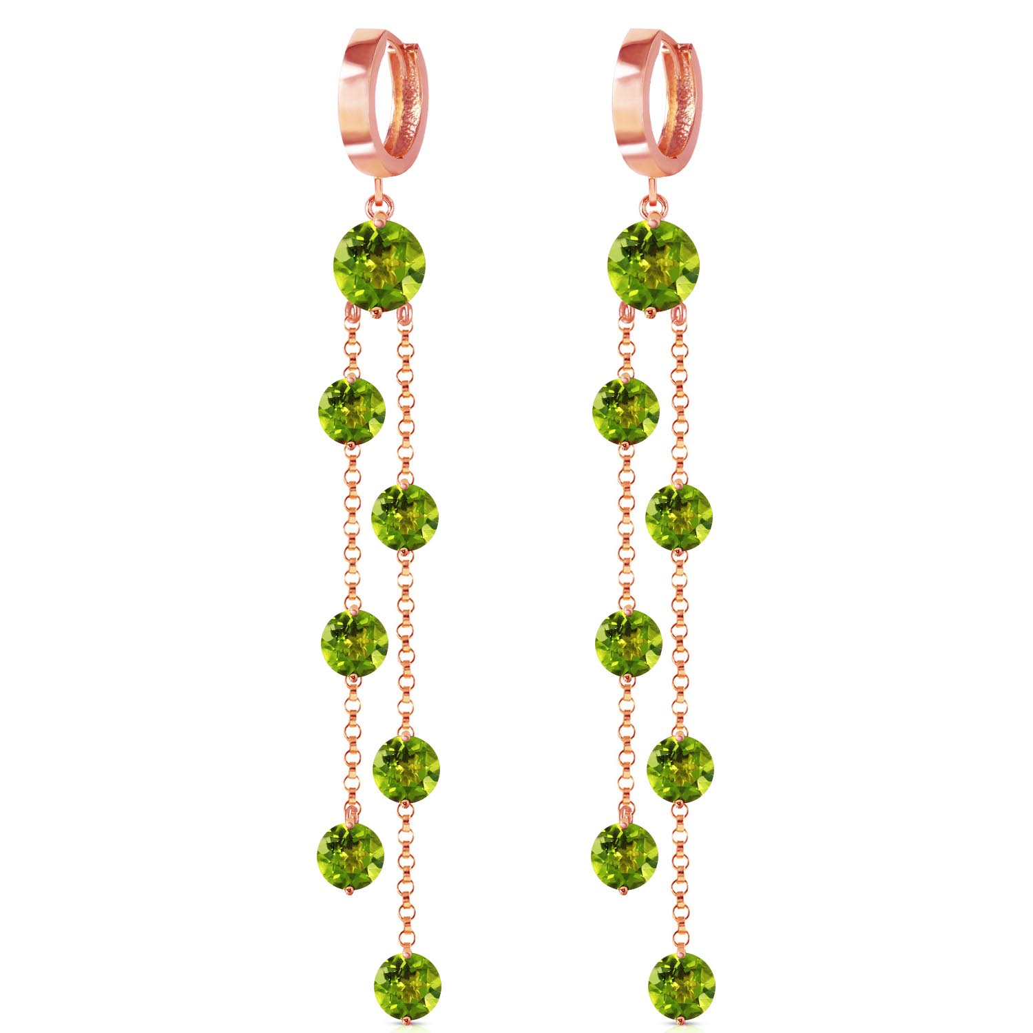 Peridot Roman Drop Earrings 9.02ctw in 14K Rose Gold