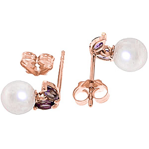 Pearl and Amethyst Snowdrop Stud Earrings 4.4ctw in 14K Rose Gold