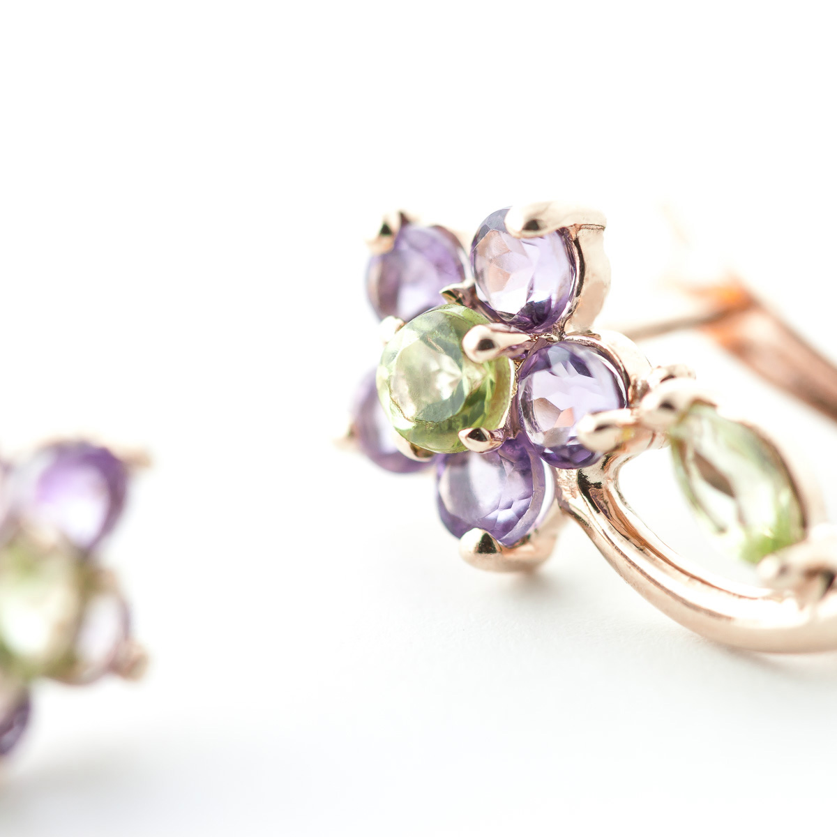Peridot and Amethyst Flower Stud Earrings 1.72ctw in 9ct Rose Gold