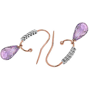 Diamond and Amethyst Stem Droplet Earrings in 9ct Rose Gold