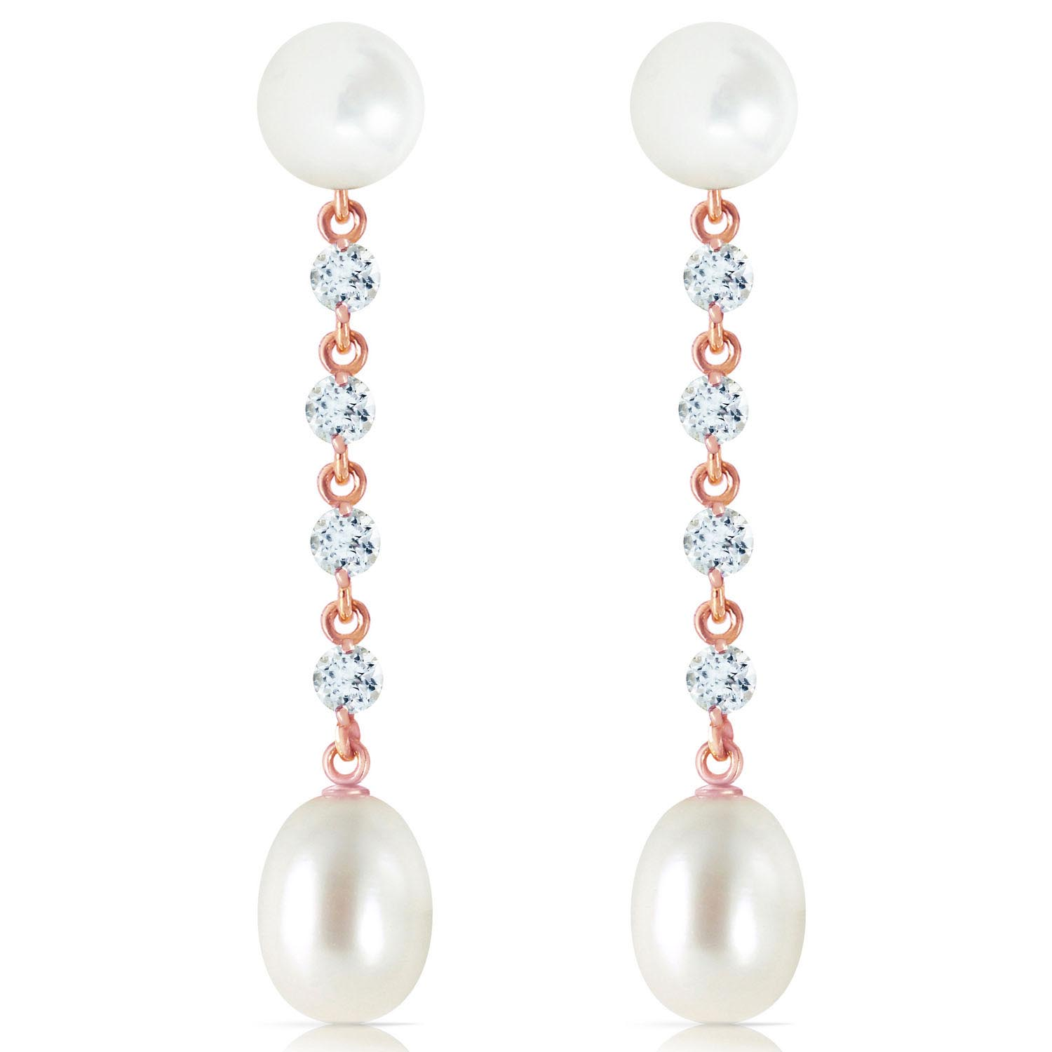 Pearl and Aquamarine by the Yard Drop Earrings 11.0ctw in 9ct Rose Gold