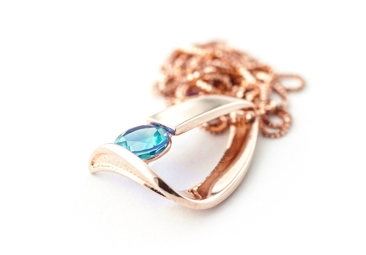 Blue Topaz Arc Pendant Necklace 1.0ct in 9ct Rose Gold