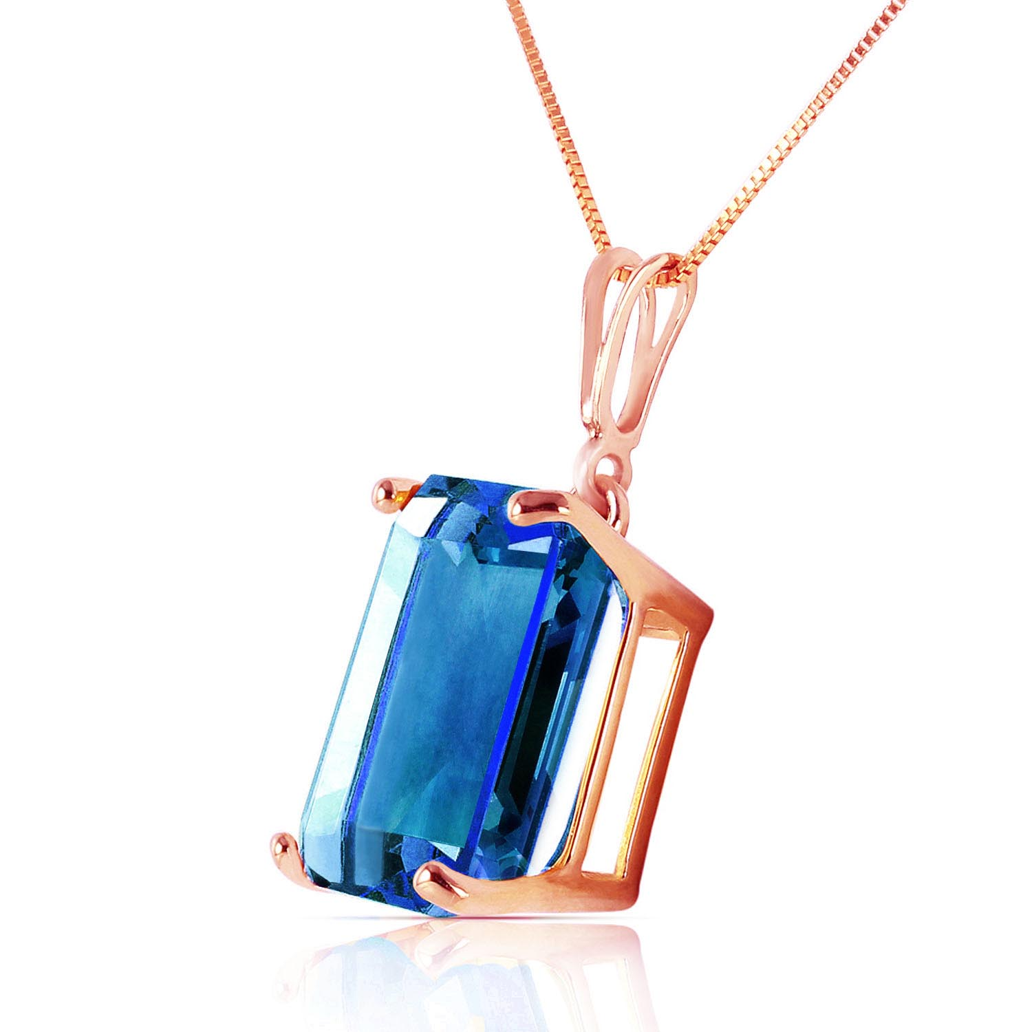 Blue Topaz Pendant Necklace 7.0ct in 9ct Rose Gold