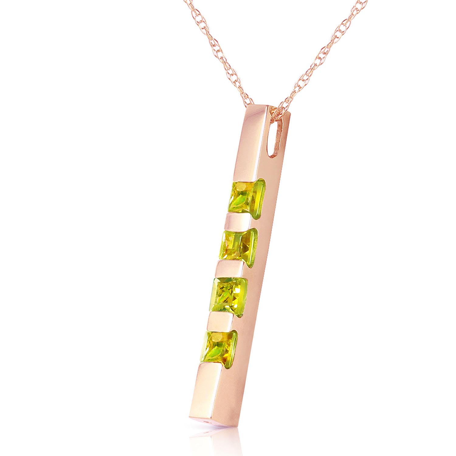 Peridot Bar Pendant Necklace 0.35ctw in 9ct Rose Gold