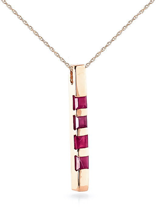 Ruby Bar Pendant Necklace 0.35ctw in 14K Rose Gold