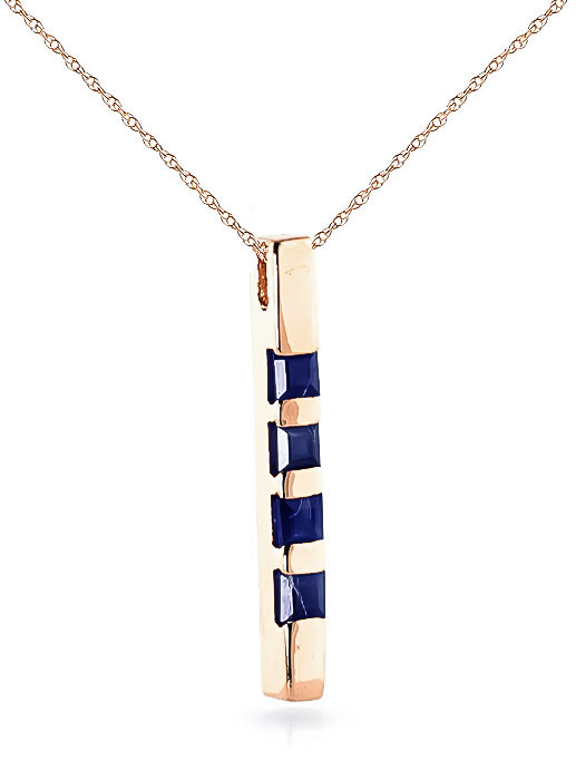 Sapphire Bar Pendant Necklace 0.35ctw in 14K Rose Gold