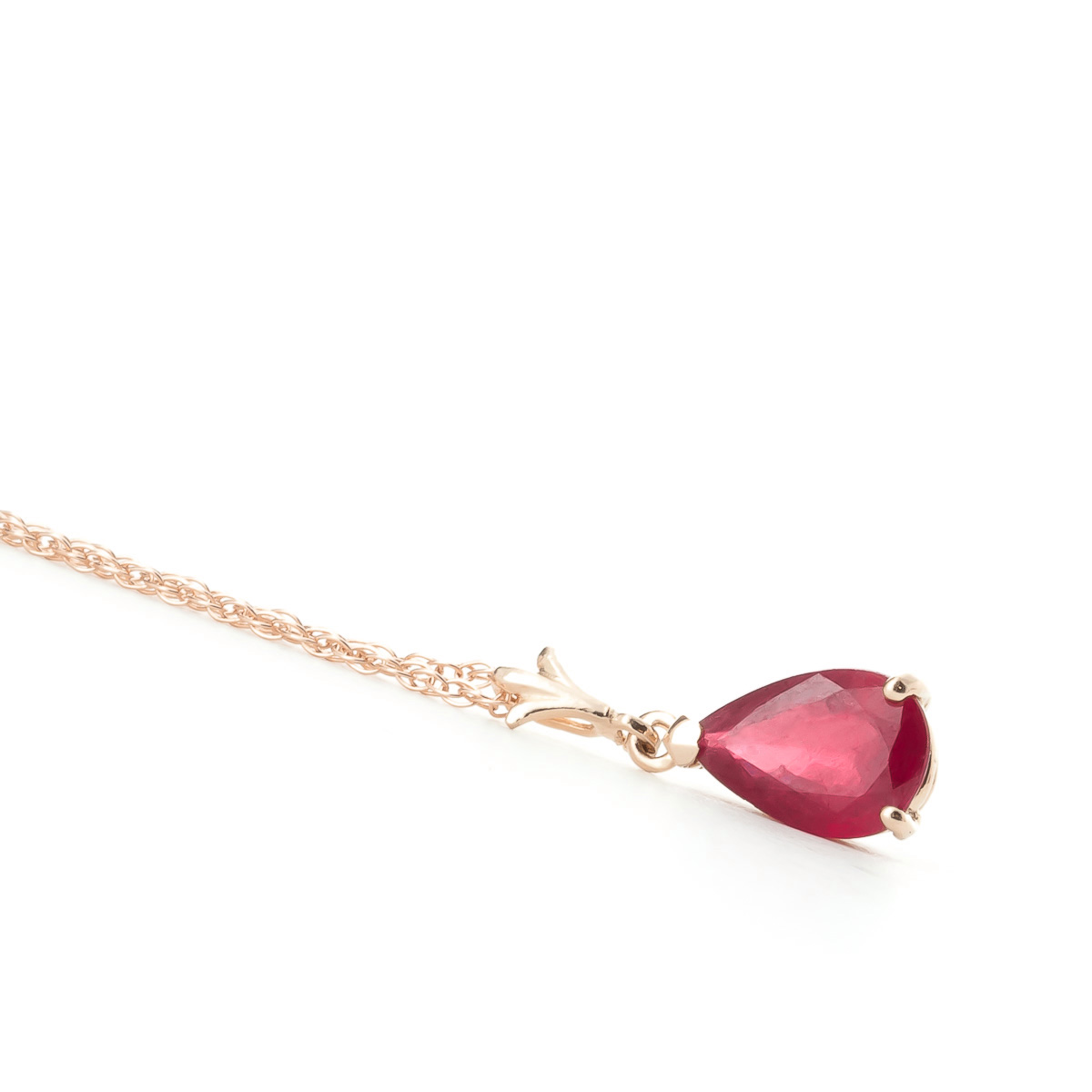 Ruby Belle Pendant Necklace 1.75ct in 14K Rose Gold
