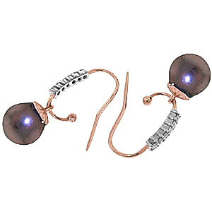Diamond and Black Pearl Drop Earrings in 9ct Rose Gold