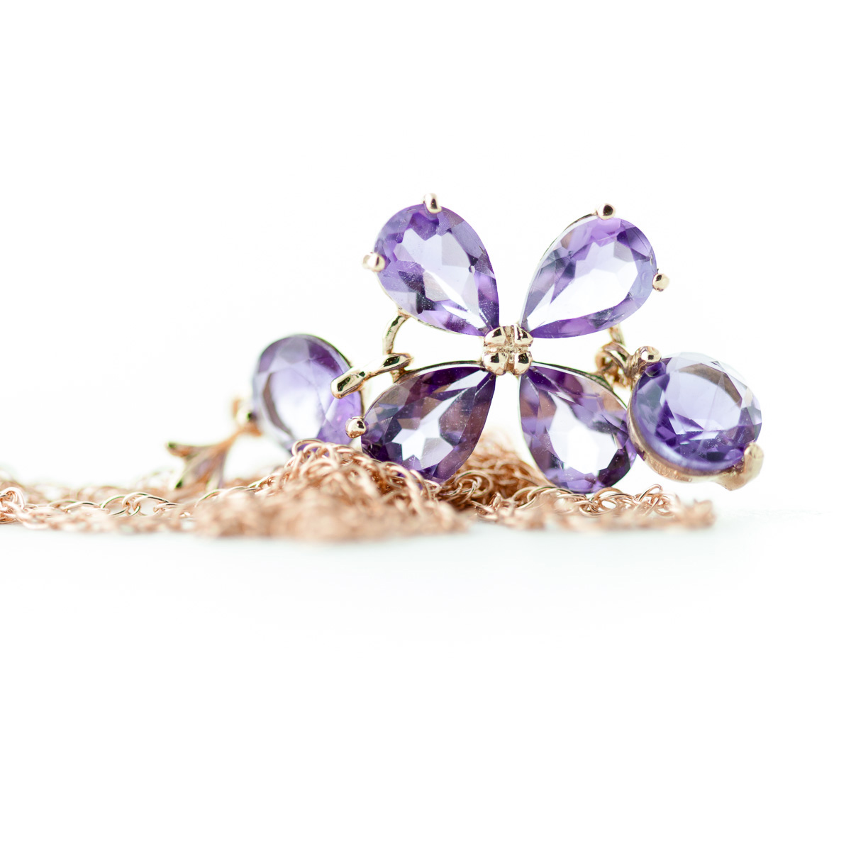 Amethyst Blossom Pendant Necklace 3.15ctw in 14K Rose Gold
