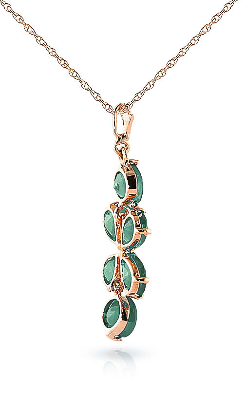 Emerald Blossom Pendant Necklace 3.15ctw in 9ct Rose Gold